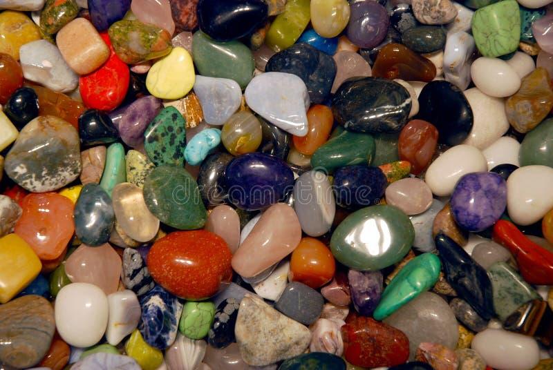 Colorful collection of semi precious stones stock photos
