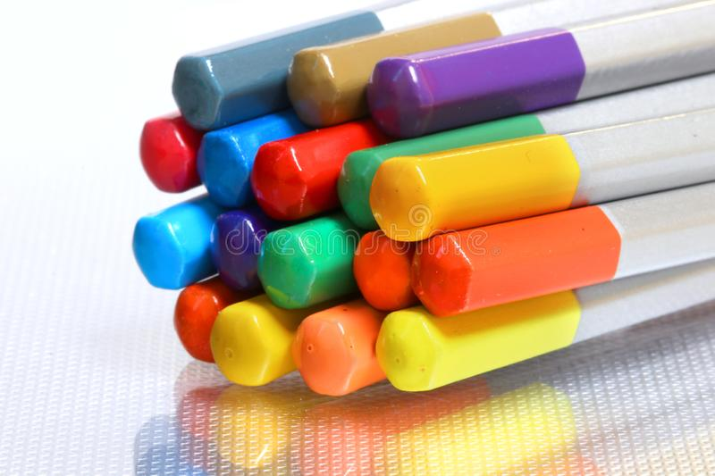 Photo of a color pencils on a white background stock photos