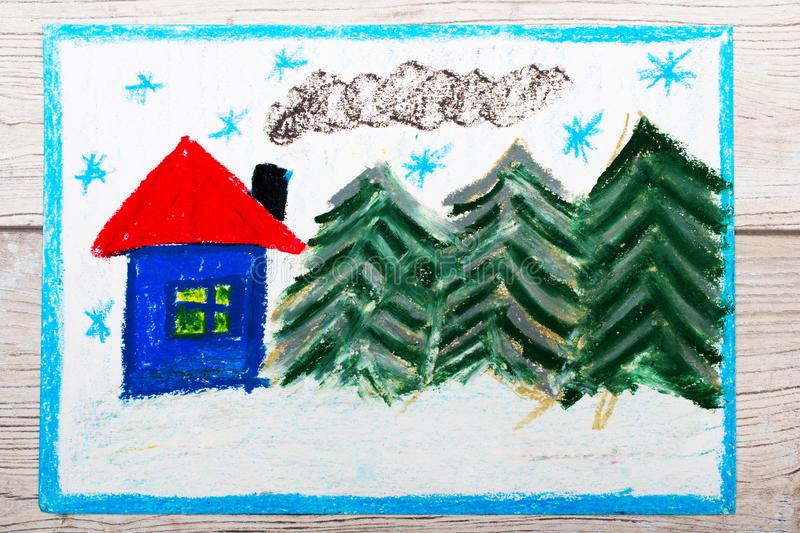 Colorful drawing: Beautiful winter landscape with cute house and coniferous trees. Photo of colorful drawing: Beautiful winter landscape with cute house and vector illustration