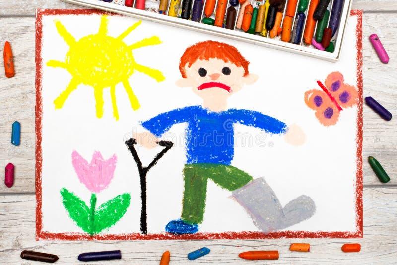 drawing: Sad boy with broken leg royalty free illustration