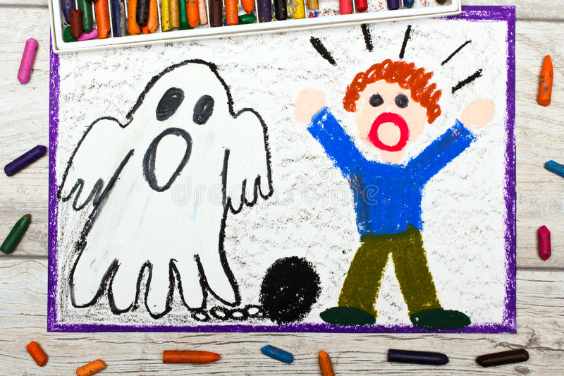 Drawing: Scary ghost with chains and scared little boy royalty free illustration