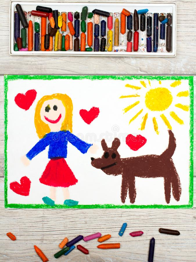 drawing: Smiling little girl and her cute dog stock image