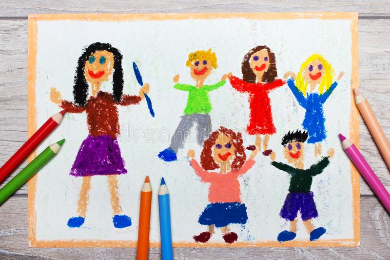 Drawing: smiling teacher and her students royalty free stock images
