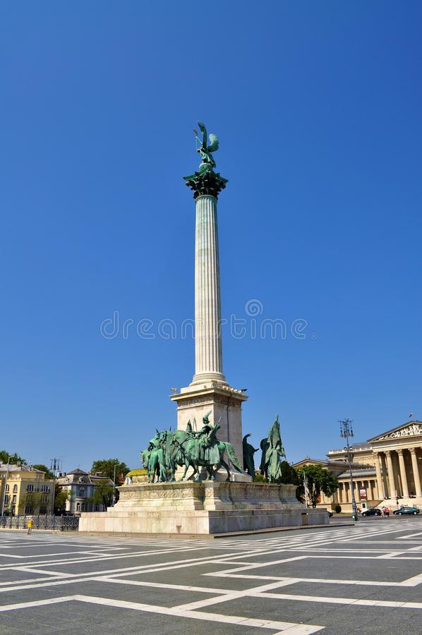 The column - Millennium Monument at Heroes` Square - Budapest stock photos