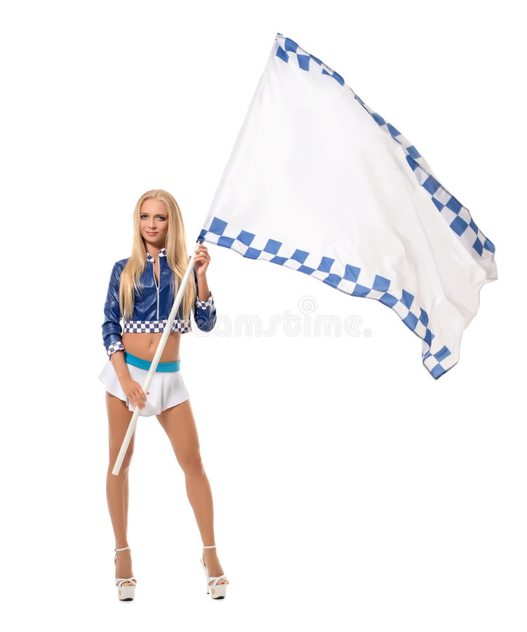 Photo of comely blonde posing with racing flag. Isolated on white royalty free stock photo