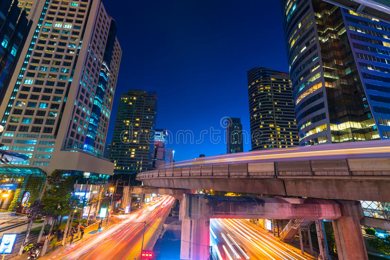 Download Photo Of Commercial Office Buildings Exterior. Night View At Bot  Stock Photo   Image