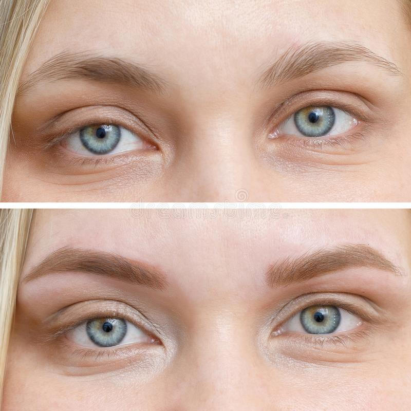 Free Photo Comparison Before And After Permanent Makeup, Tattooing Of Eyebrows Royalty Free Stock Photo - 136234825