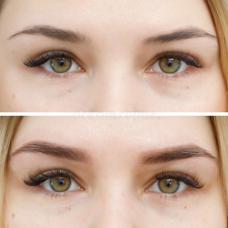 Photo comparison before and after permanent makeup, tattooing of eyebrows. For woman in beauty salon royalty free stock photo