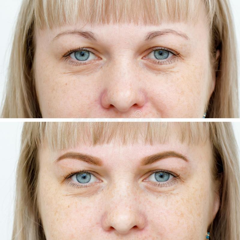 Photo comparison before and after permanent makeup, tattooing of eyebrows. For woman in beauty salon stock images