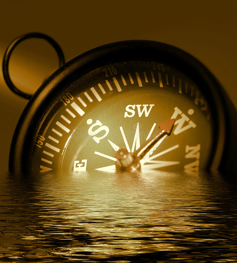 Download Photo Of A Compass In Sepia Tones,  Drowning And Sinking Into Wa Stock Image - Image: 514179