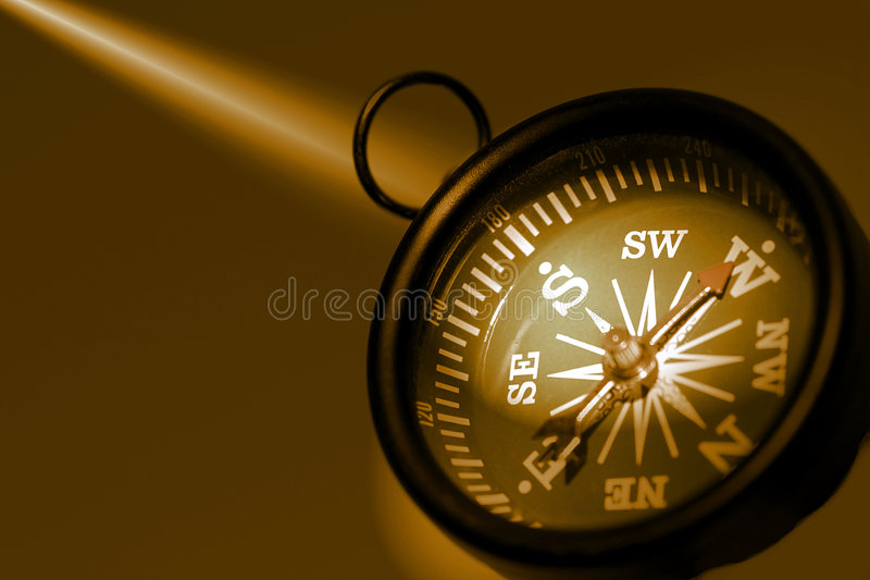 Photo of a Compass in Sepia Tones Offset to The Right royalty free stock photography