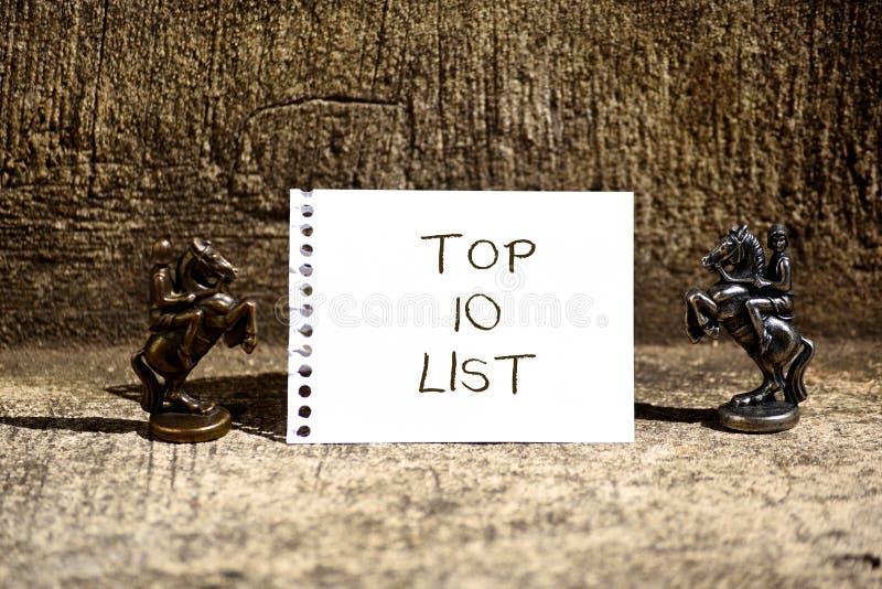Photo conceptuelle d'affaires de liste du principal 10 d'apparence d'écriture de main présentant les dix les plus importants ou l photos stock