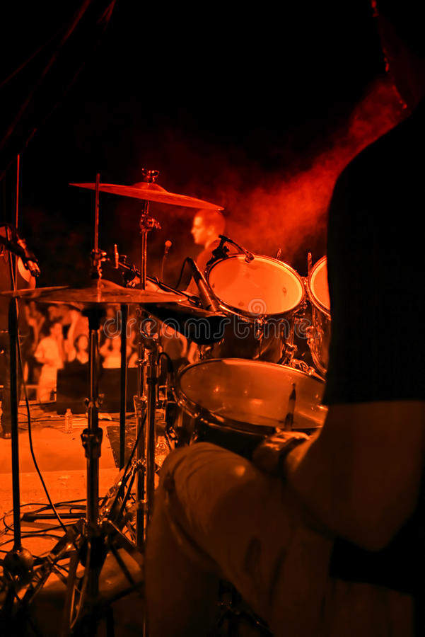 Drummer On Concert Royalty Free Stock Images