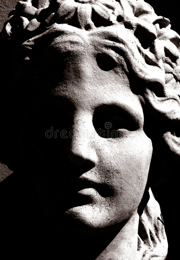 Photo contrastée d'une sculpture grecque photos stock