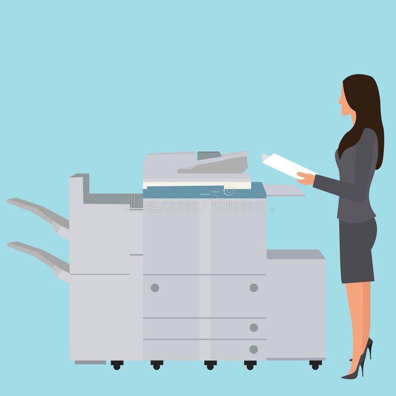 Photo copy copier machine office woman standing copying document big photocopier royalty free illustration