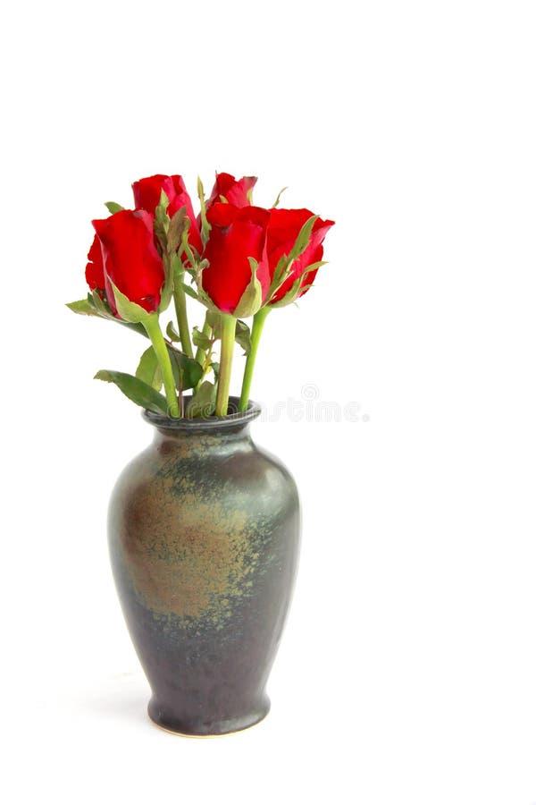 Photo courante : Belles roses rouges dans un vase d'isolement sur le blanc image libre de droits