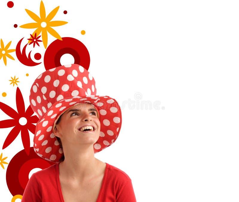 Photo courante d'un jeune joli femme avec le chapeau rouge illustration de vecteur