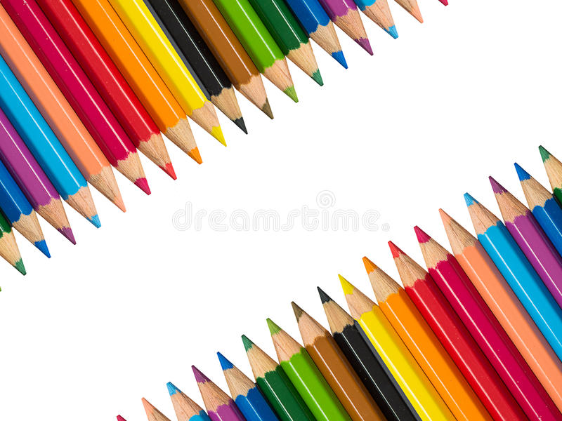 Photo courante - la rangée du crayon multicolore, vue avec le crayon photographie stock