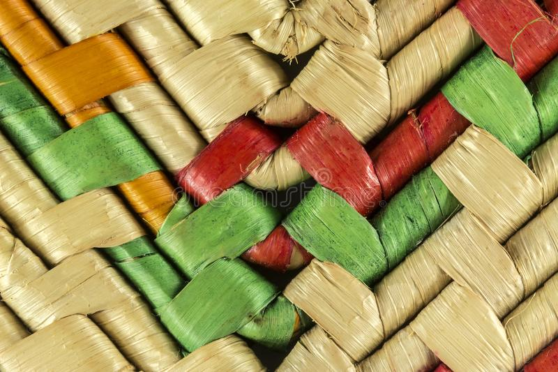 Craftwork with bamboo fibers close up texture. Photo of craftwork with bamboo fibers close up texture stock photo
