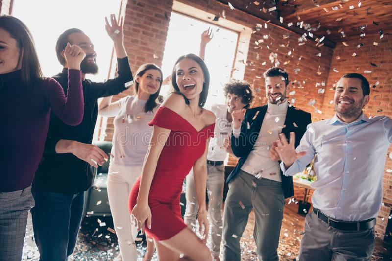 Photo of crazy friends on dance floor x-mas students party listening favorite songs resting bar together little drunk stock photos