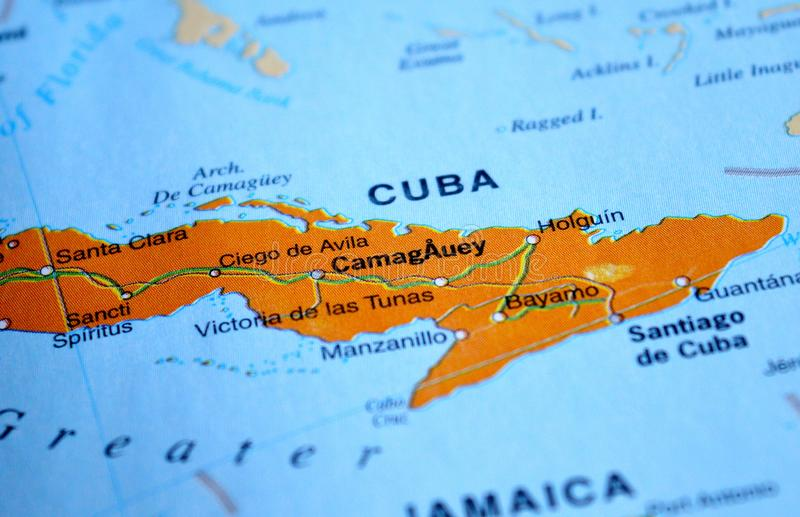 A photo of Cuba on a map.  stock photos