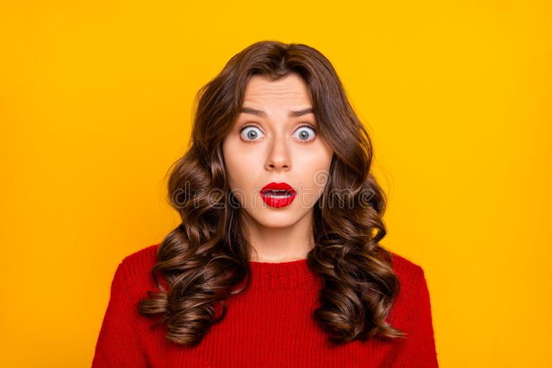 Photo of curly wavy feared terrified horrified astonished girlfriend emotional with frightful face expression seeing. Something negatively, unbelievable royalty free stock images