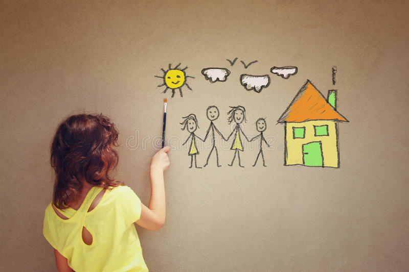 Photo of cute kid imagine a happy family. set of infographics over textured wall background stock image