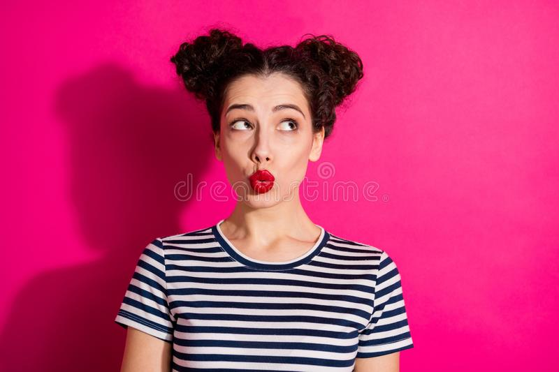 Photo of cute sweet beautiful pretty charming nice youngster pondering over changing her style with lips pouted shining royalty free stock images