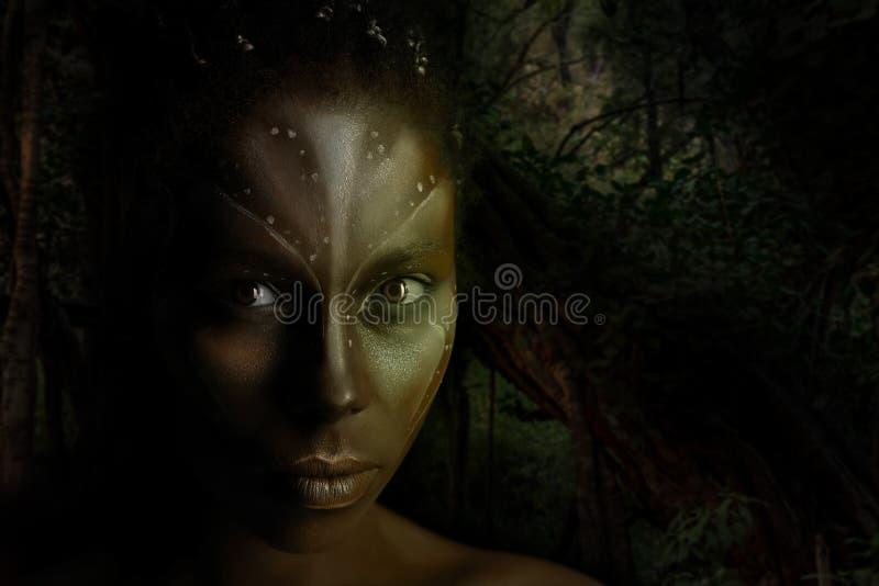 Photo d'art de femme d'Africal avec les peintures ethniques tribales sur son visage photographie stock