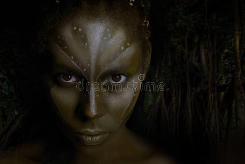 Photo d'art de femme d'Africal avec les peintures ethniques tribales sur son visage image stock