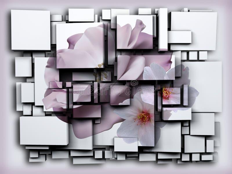 Photo 3D cubes effect green Apple. 3D rendering.flower vector illustration