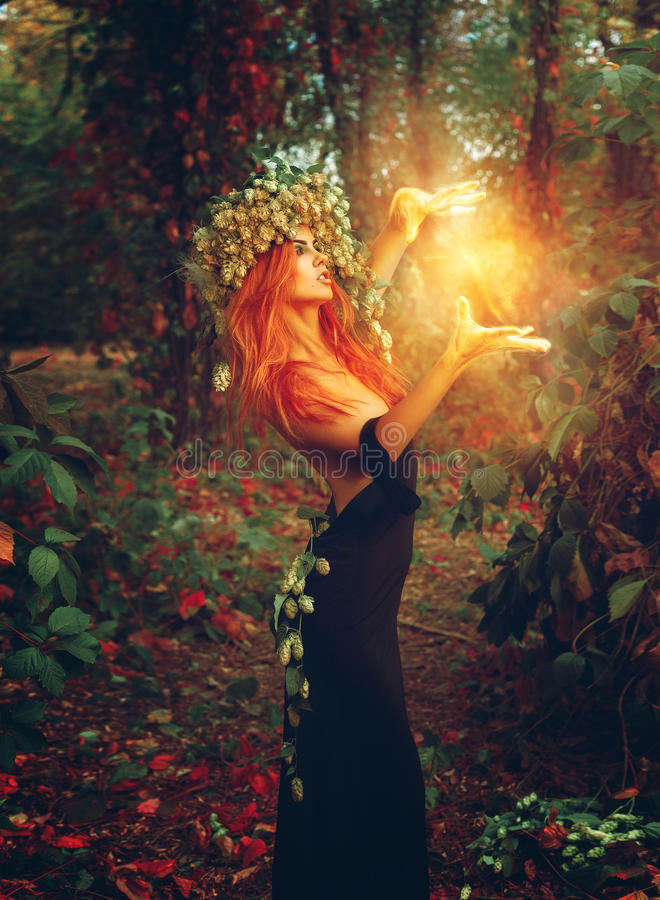 Photo d'imagination de jeune magicien de dame de redhair images stock