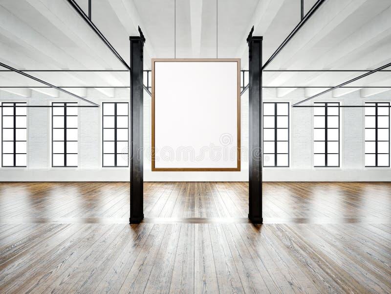 Photo d'intérieur vide dans le bâtiment moderne Grenier de l'espace ouvert Videz la toile blanche accrochant sur le cadre en bois illustration stock