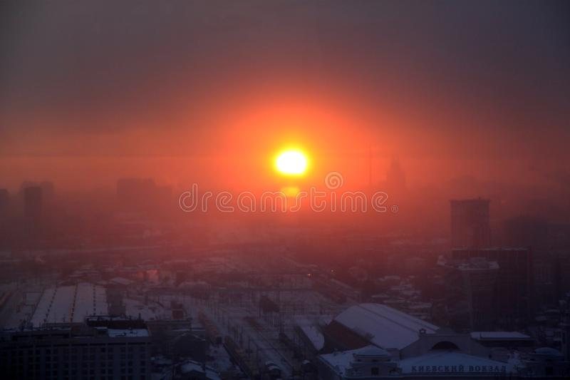 Photo d'un beau rétro fond de coucher du soleil à Moscou image stock