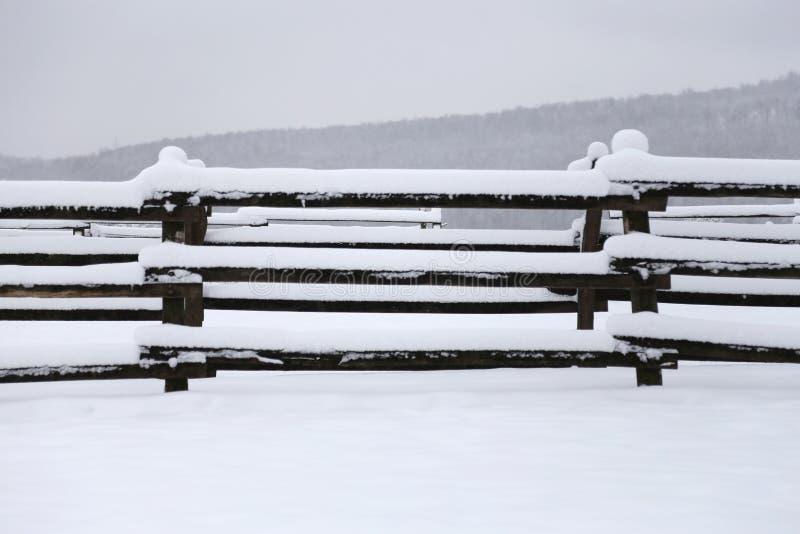 Photo d'un corral neigeux fafulous comme fond d'hiver photo libre de droits