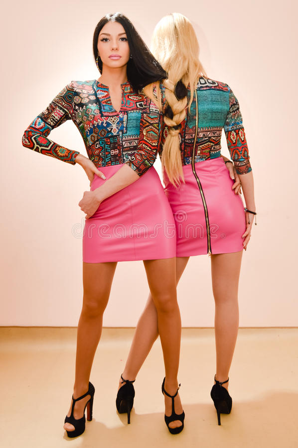 Photo de 2 belles jeunes femmes sexy blondes et de brune de mode ayant l'amusement posant dans le même appareil-photo de regard d photographie stock libre de droits