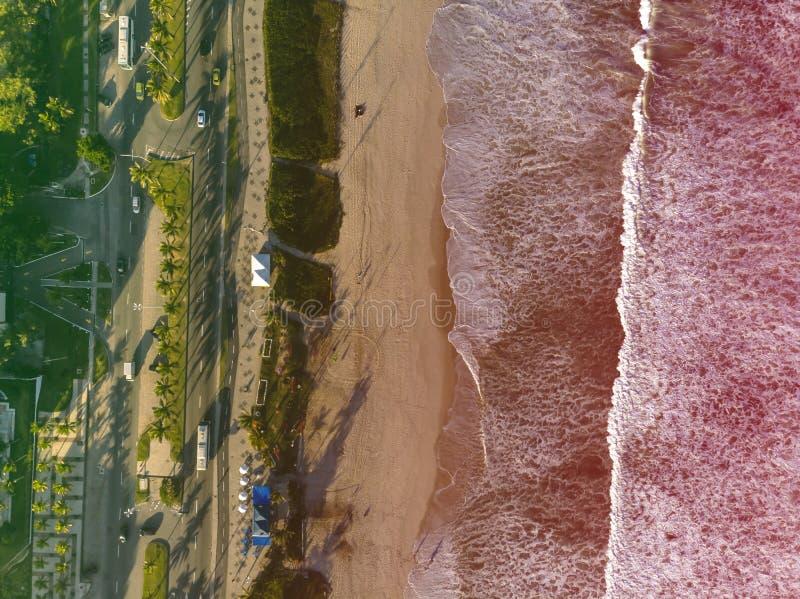 Photo de bourdon de plage en Barra da Tijuca, Rio de Janeiro, Brésil Vagues se brisant avec le lait de chaux, le sable d'or et photographie stock libre de droits