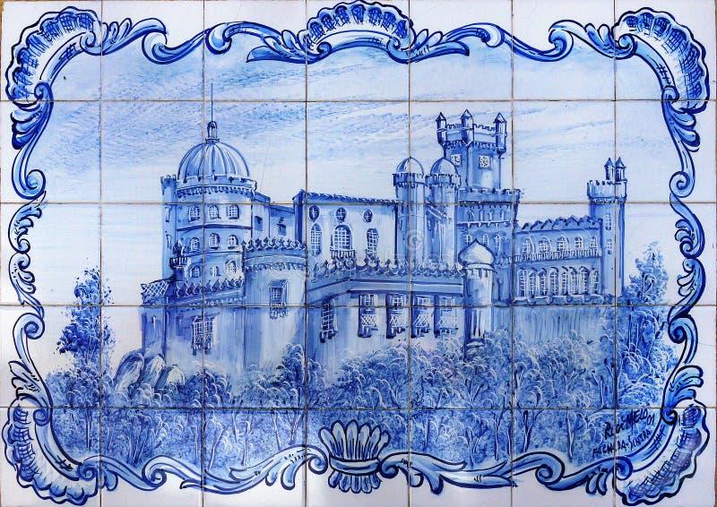 Photo de château, tuiles Azulejos, Portugal images stock