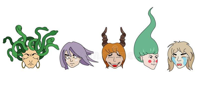 Photo de cinq filles fantastiques avec différentes coiffures, couleur de cheveux et émotions illustration libre de droits