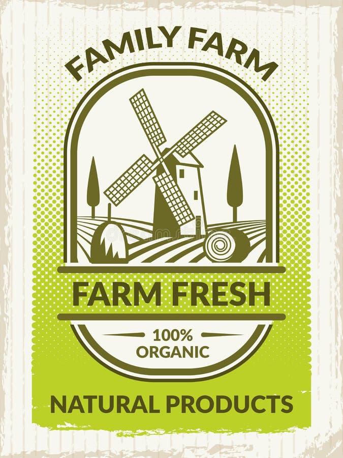 Photo de concept d'agriculture Rétro affiche au thème de ferme illustration de vecteur