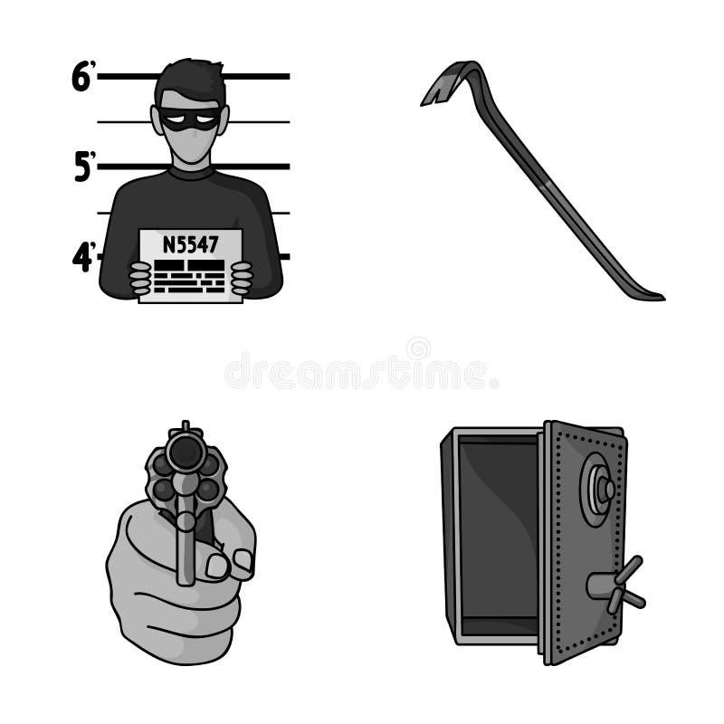 Photo de criminel, chute, coffre-fort ouvert, arme à feu directionnelle Les icônes réglées de collection de crime dans le style d illustration de vecteur