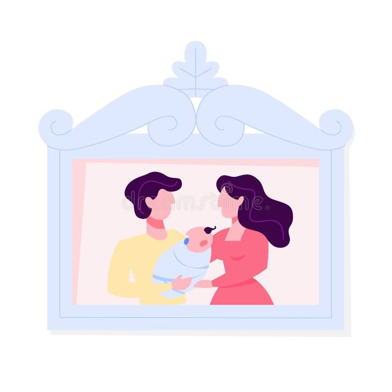 Photo de famille heureuse dans le cadre P?re, m?re illustration de vecteur