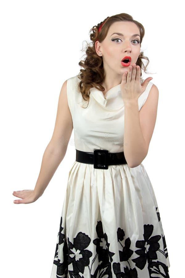 Photo de femme étonnée avec la main photographie stock