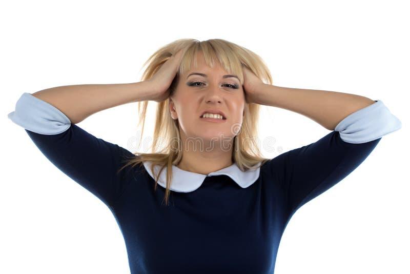 Photo de femme d'affaires dans l'effort photographie stock