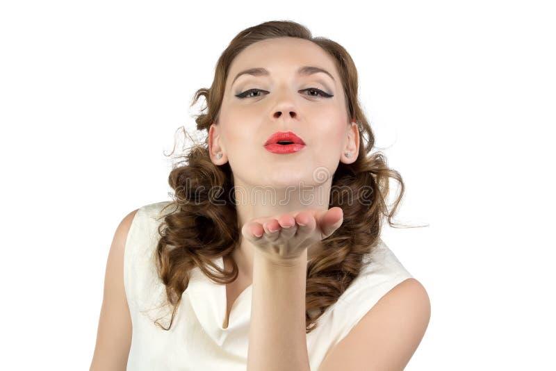 Photo de femme envoyant un baiser photographie stock