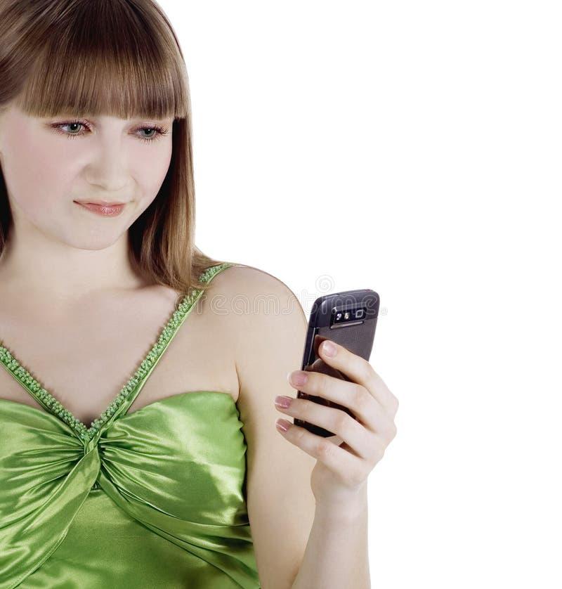 Photo de femme fâchée avec le téléphone portable photos stock