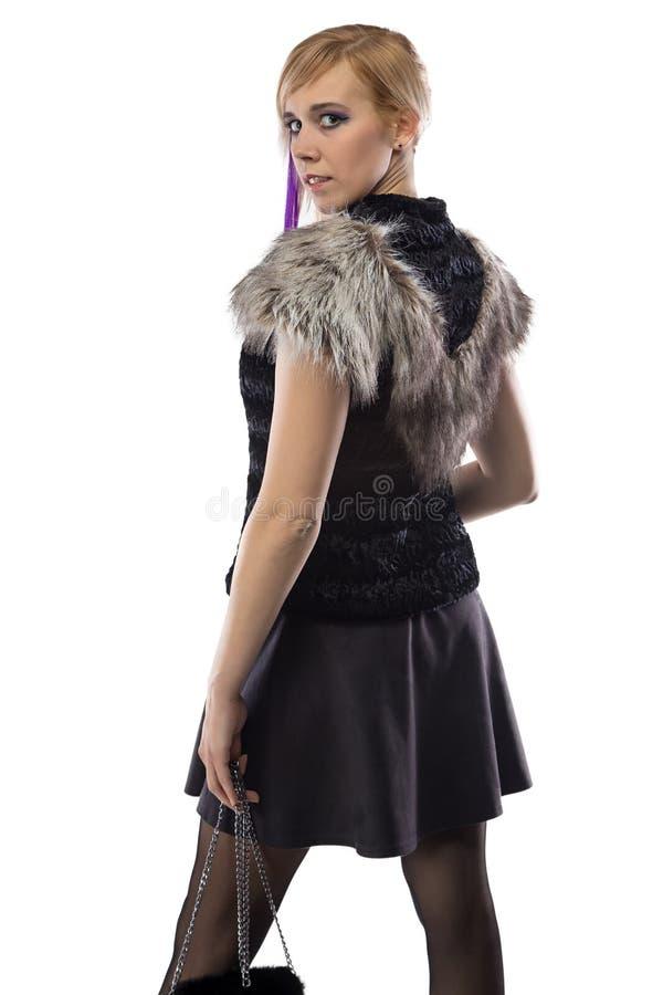 Photo de femme mignonne avec le sac à main image stock