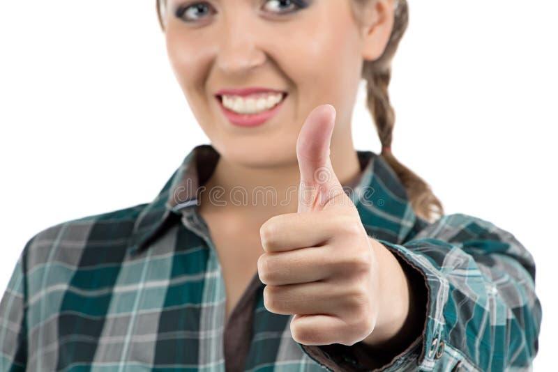 Photo de femme montrant le pouce image stock