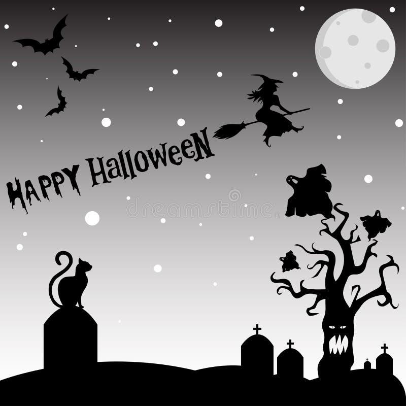 Photo de fond de nuit de Halloween avec l'arbre rampant, battes, fantômes illustration libre de droits