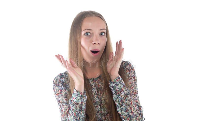 Photo de jeune femme étonnée image libre de droits